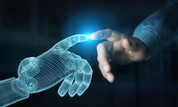Wireframed Robot hand making contact with human hand on dark background 3D rendering