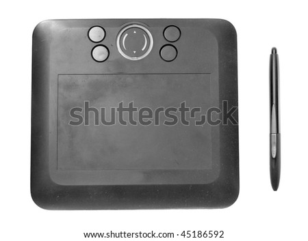 Wireless Black Drawing Tablet isolated on a white background. pen included on the right. This item shows signs of use.