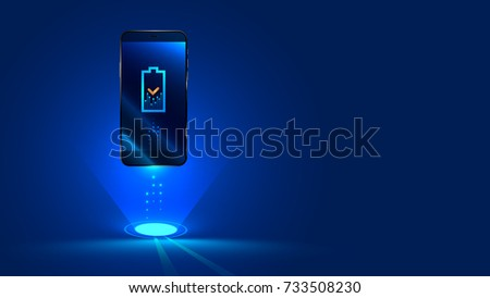Wireless charging of the smartphone battery. Future concept. The progress of charging the battery of the phone. illustration.