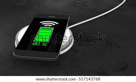 Wireless charging pad with mobile phone green glowing battery screen a black stone table 3D illustration