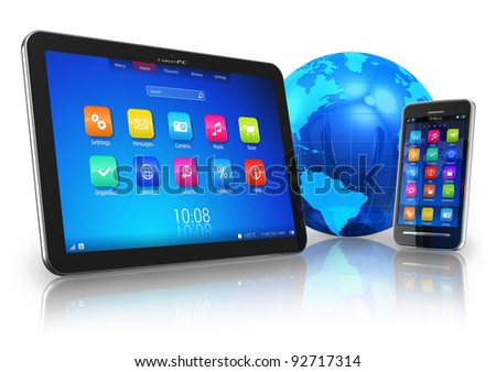 Wireless communication concept: tablet PC and touchscreen smartphone with blue Earth globe isolated on white reflective background