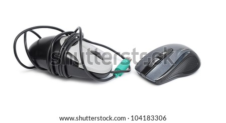 Wireless computer mouse and computer mouse with cable isolated on white background