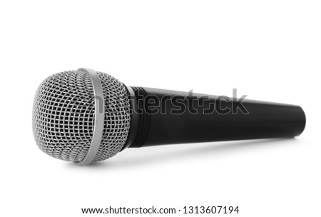 Wireless dynamic microphone on white background. Professional audio equipment