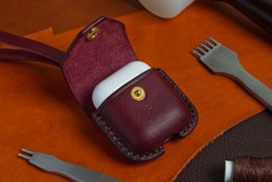 Wireless Earbuds Genuine Leather Case, High Quality Handmade from Genuine Italian Vegetable Tanned Leather.