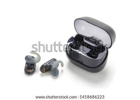 wireless earphones in white background