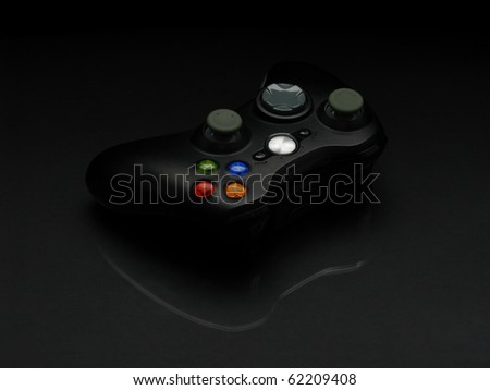 Wireless gamepad isolated on black background