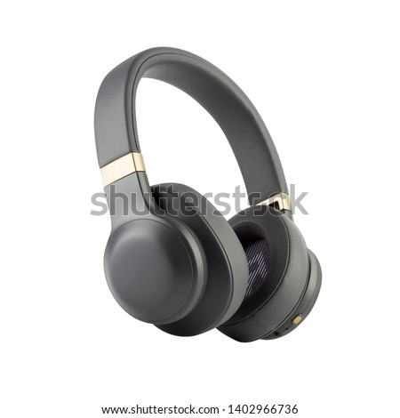 Wireless Headphones Isolated on White Background. Black Silver Over-the-Ear Headset With Noise Cancelling and Integrated Microphone. Side View of Acoustic Stereo Sound System #1402966736
