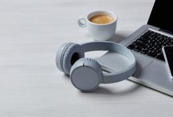 Wireless headphones on office desk