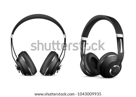 Wireless headphones realistic set with music and technology symbols isolated  illustration
