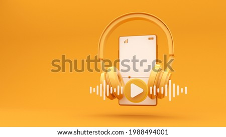 Wireless headphones with smartphone and flying notes - 3d render. Concept for online music, radio, listening to podcasts, books at full volume. Digital illustration for mobile music app, song.