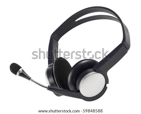 Wireless headset isolated over white background (macro shot)