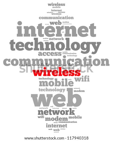 wireless info-text graphics and arrangement concept on white background (word cloud)
