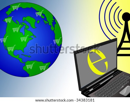 Wireless laptop and shopping carts on the earth globe