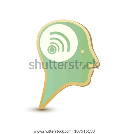 Wireless man. Label sticker. Modern concept