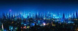 Wireless network and Connection technology concept with Bangkok city background at night in Thailand, panorama view