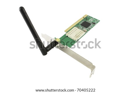 Wireless network card over white.