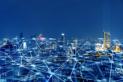 Wireless network, Connection technology concept, Information communication network, abstract line connection on night city background