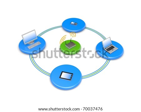 Wireless network. Image contain clipping path