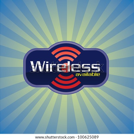 Wireless or WiFi available glossy icon - raster version