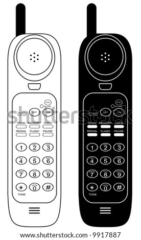 Wireless phone. Raster vector illustration. Isolated on white background.
