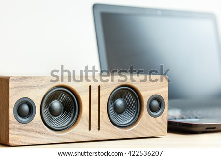 Wireless portable bluetooth speaker and notebook #422536207