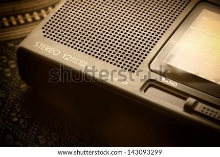 Wireless radio sepia image.