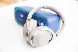 Wireless speaker with headphones