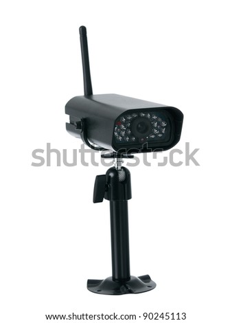 Wireless surveillance camera isolated on white background