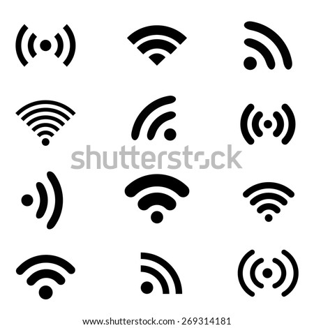 Wireless technology, black flat web icons set.