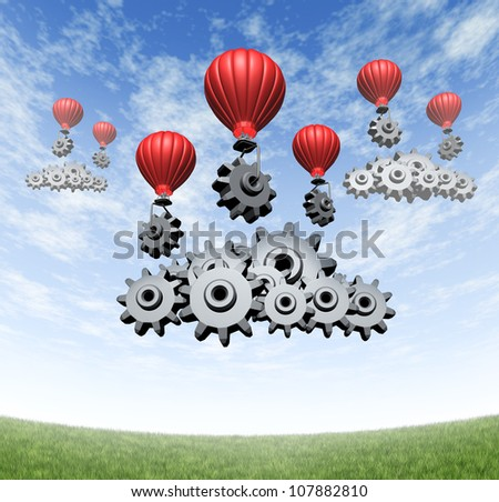 Wireless technology business concept and building an internet mobile cloud computing network with red hot air balloons with gears and cogs creating data server clouds on a blue summer sky and grass.