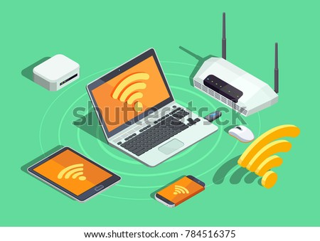 Wireless technology devices isometric poster with laptop printer smartphone router and wifi internet connection symbol  illustration