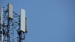 Wireless telecommunication technology. Cellular 3g, 4g, 5g radio transmitter and repeater tower. Communication antenna.