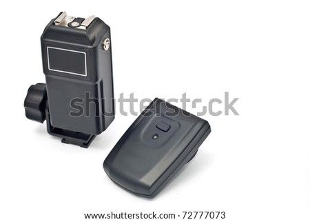 Wireless trigger (receiver and transmitter) on the white background