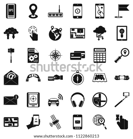 Wireless widget icons set. Simple set of 36 wireless widget icons for web isolated on white background