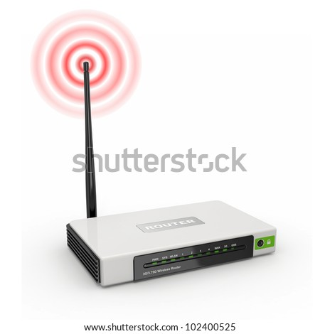 Wireless wifi Router on white isolated background. 3d