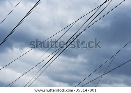 wires in muddy sky  #353147801
