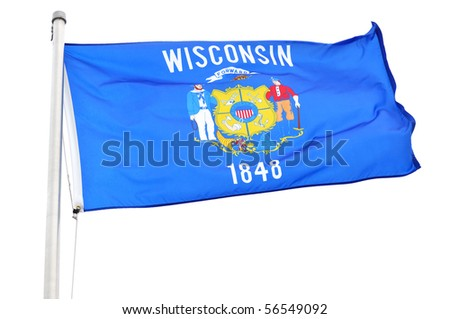 Wisconsin State Flag Isolated on a White Background