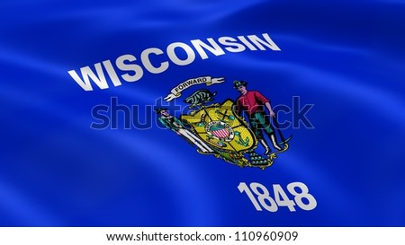 Wisconsinite flag in the wind. Part of a series.