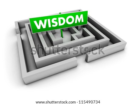 Wisdom concept with labyrinth and green goal sign on white background.