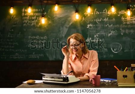 wisdom. wisdom of woman writer at work place. wisdom of professional author #1147056278
