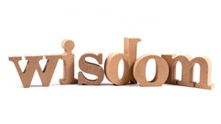 Wisdom wood alphabet isolated on white background