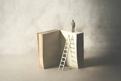 wise man on the top of the book, surreal concept