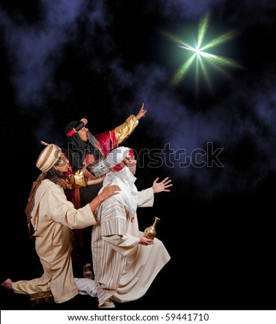 Wise-men Caspar Melchior and Balthasar following the star of Bethlehem