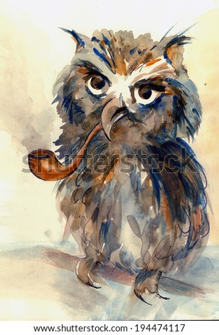 Wise Owl with big eyes and tube for smoking animal watercolor painting poster colored print textile pattern wallpaper background artwork hand drawn illustration