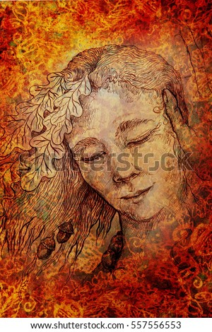 wise woman with oak leaves listening to secret voice, drawing and graphic collage