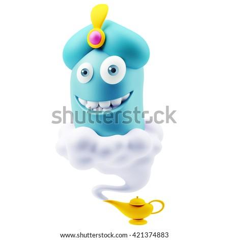 Wish Genius Lamp Emoji Cartoon. 3d Rendering. Foto stock ©