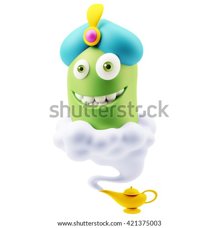 Wish Genius Lamp Emoticon Character Face Expression. 3d Rendering. Foto stock ©