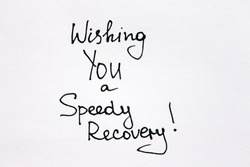 Wishing You a Speedy Recovery! Handwritten message is on a white background.