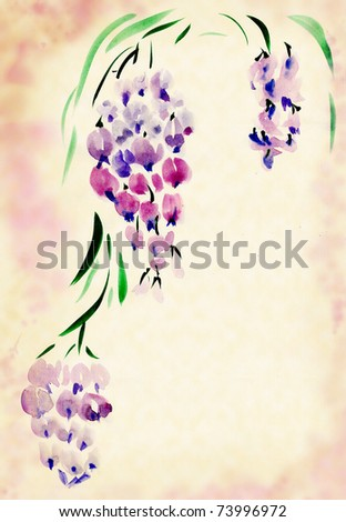 Wisteria painted watercolors in the traditional Chinese style