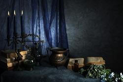 witch accessories in dark room